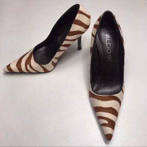 Aldo Brown And Cream Zebra Print Heels